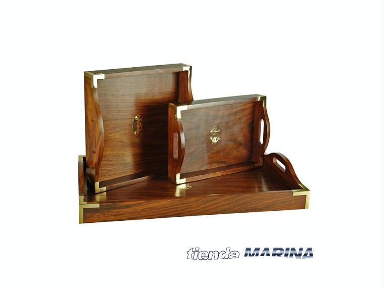 Set de tres bandejas en madera b991 others 45299 inautia for Bandejas de madera